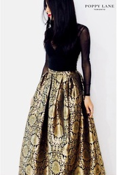 skirt,black,gold,two-piece,long,formal,elegance,classic