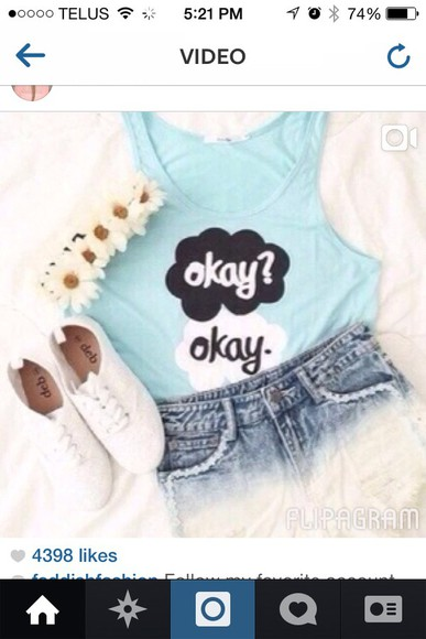 baby blue tank top loose the fault in our stars tfos