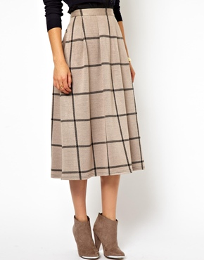 ASOS | ASOS Full Midi Skirt in Squared Check Print at ASOS