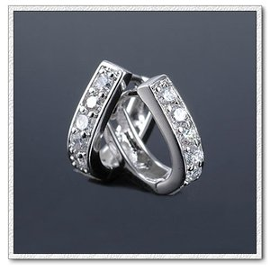 Platinum Plated Small Hoops Suitable Also for Small Girls with Zircons E377 | Amazing Shoes UK
