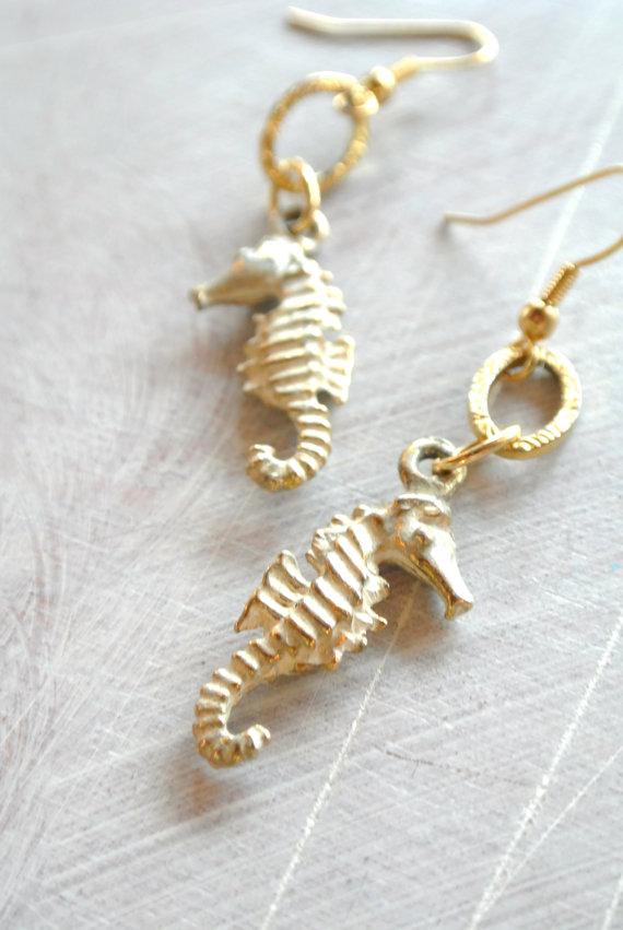 Gold seahorse earrings by loveheylola on etsy