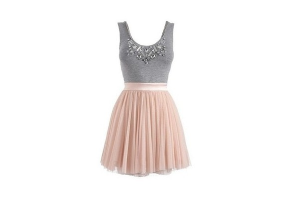 dress grey tulle pink diamonds silk