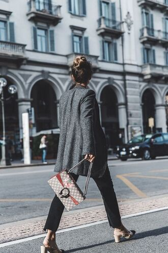 shoes slingbacks slingback heels chanel slingbacks cropped jeans black cropped jeans chanel shoes gucci bag grey blazer top knot bun streetstyle chanel slingback shoes
