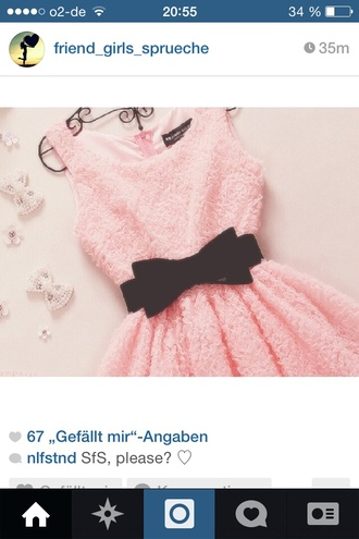 peach dress cute pink pastel bow black tumblr hipster orange lookingforthis helpme? black bow sleeveless