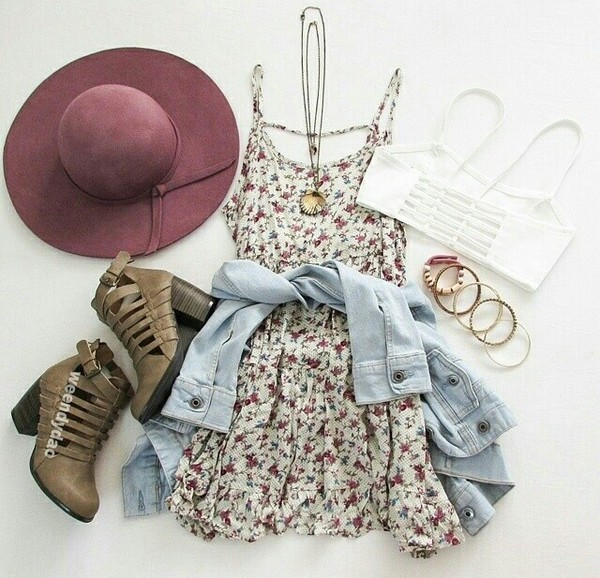 shoes hair accessory floral cream maroon dress jacket underwear