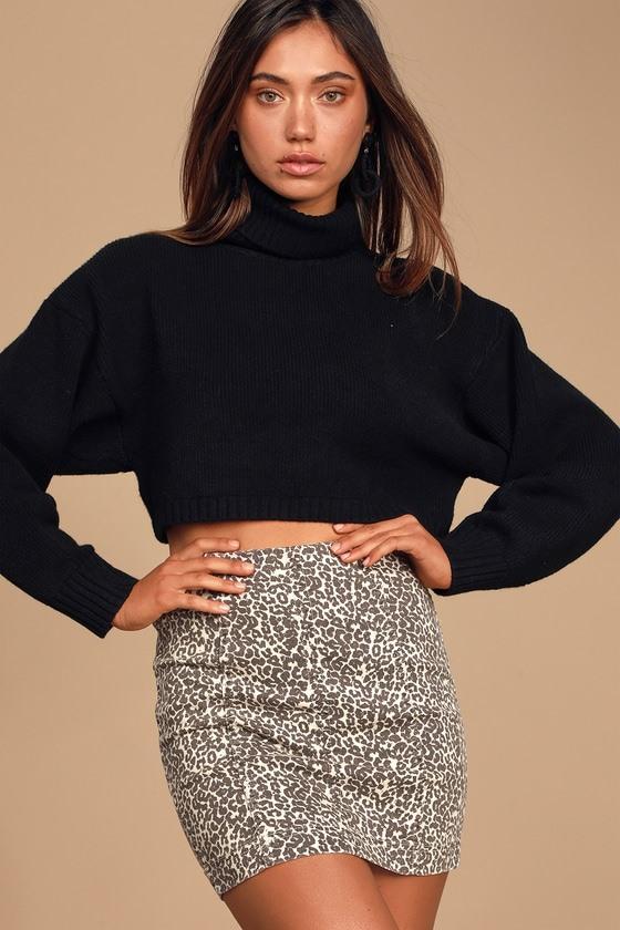 Modern Femme Novelty Leopard Print Denim Mini Skirt