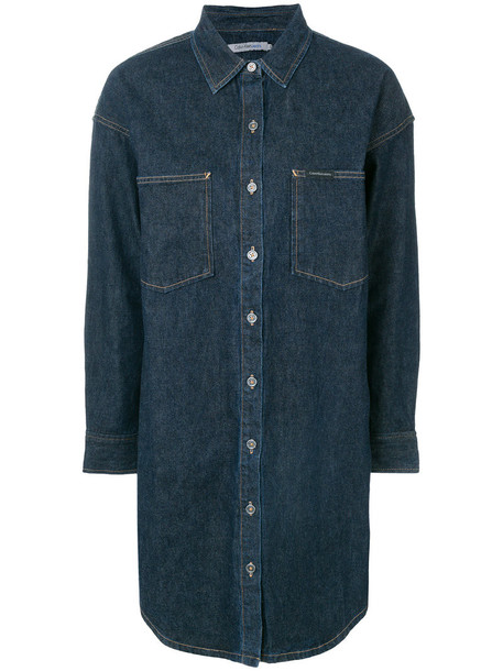 Calvin Klein Jeans dress shirt dress denim women cotton blue