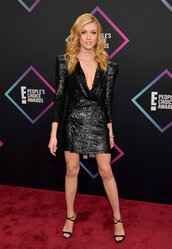dress,sequins,sequin dress,black blazer,blazer dress,katherine mcnamara,celebrity,people's choice awards