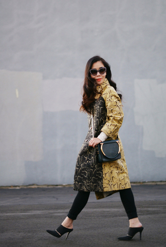 hallie daily blogger coat bag sunglasses snake print black shoes