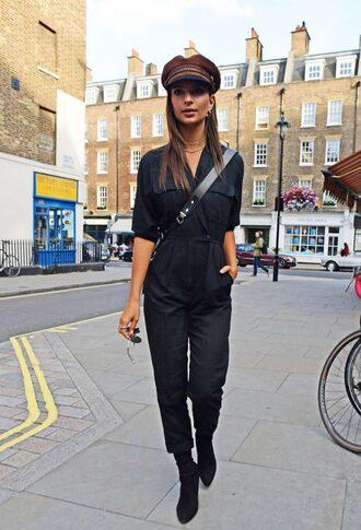 jumpsuit emily ratajkowski all black everything model off-duty streetstyle pants boots shoes
