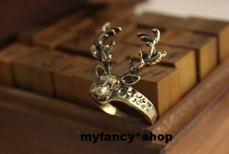 Deer long ring copper colour cute christmas fashion