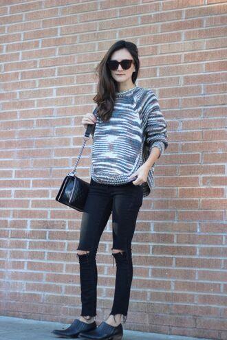 frankie hearts fashion blogger sweater bag shoes sunglasses
