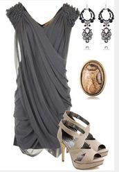 dress,short dress,grey dress,ruched shoulder,cross over dress,chiffon dress,v neck dress,heels,high heels,pumps,peep toe heels,earrings,taupe heels,fashion