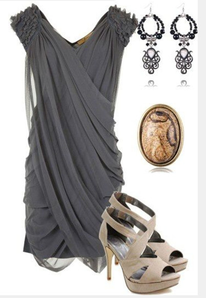high heels dress short dress grey dress gray dress ruched shoulder cross over dress chiffon dress v-neck dress pumps peep toe heels earrings taupe heels