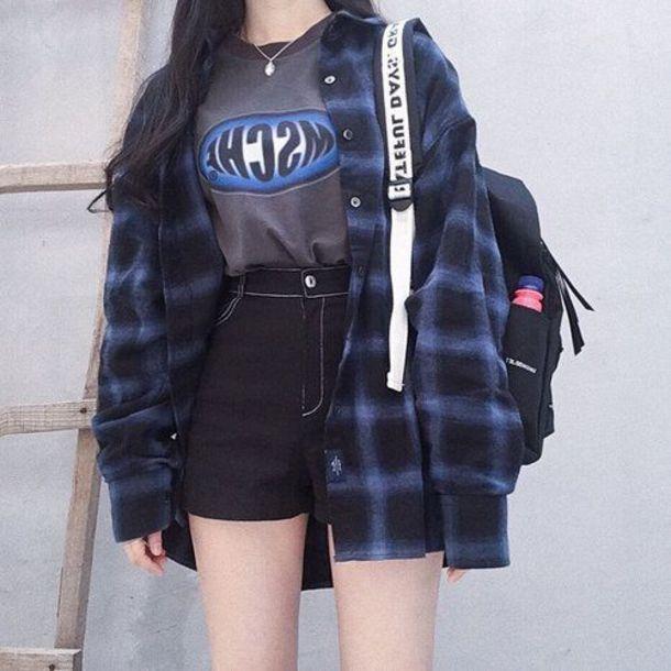 shorts high waisted shorts korean fashion grunge high