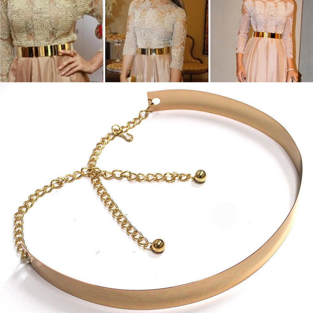 Women Bling Full Metallic Mirror Plate Waist Metal Chain Belt Silver Gold Long   eBay
