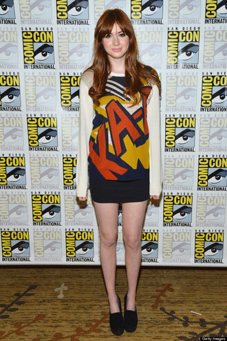 sweater quote on it graphics comic karen gillan red white blue yellow cartoon quote on it script jumper