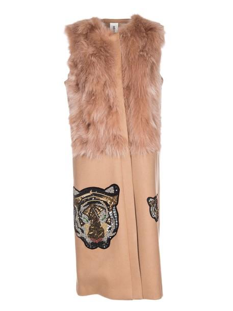 Caban Romantic vest long tiger brown jacket