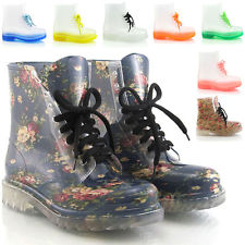 NEW WOMENS FLAT ANKLE WELLINGTON LOW LADIES CLEAR JELLY WELLIES BOOT SHOES SIZE   eBay