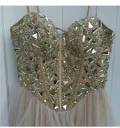dress,strapless,beaded,empire waist,chiffon,corset,prom dress,gold prom dress