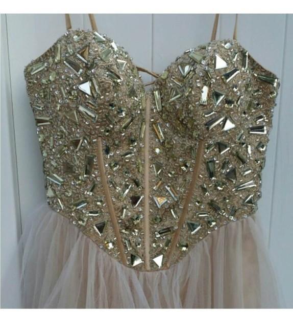 dress strapless beaded empire waist chiffon corset prom dress gold prom dress