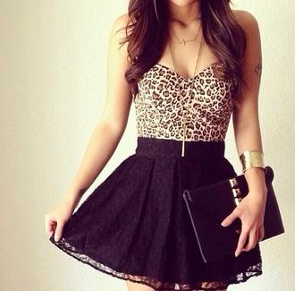 dress leopard print black skirt cute drees shirt skirt tube top bustier bralette crop purse