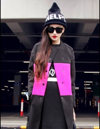 coat black purple dress pink dress winter jacket fall coat nero sunglasses beanie cap fashion asian fashion alien ebay