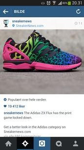 shoes,adidas,leopard print,tiger stripe,tiger print,pink,sneakers,red,blue,green,yellow,purple,rainbow,colorful shoes,colourful shoes,print,rainbow shoes,rainbow colours,sportswear,fitness,fitness shoes,sportsshoes