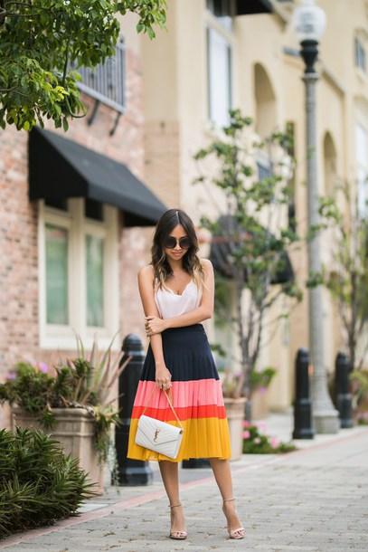 skirt pleated midi skirt colorblock skirt tank top clutch sandals blogger blogger style yves saint laurent