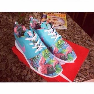 shoes light blue mint flamingo nike roshe run roshe runs white white laces nike running shoes cute