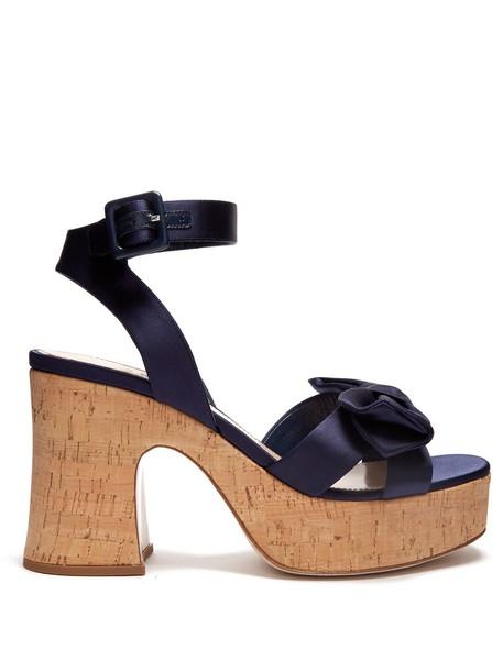 Miu Miu bow sandals platform sandals satin navy shoes