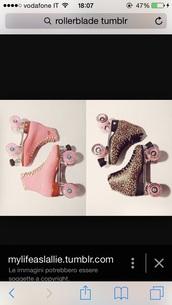 shoes,pink,white,roller skates