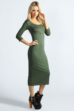 Philippa 3/4 Sleeve Midi Dress at boohoo.com