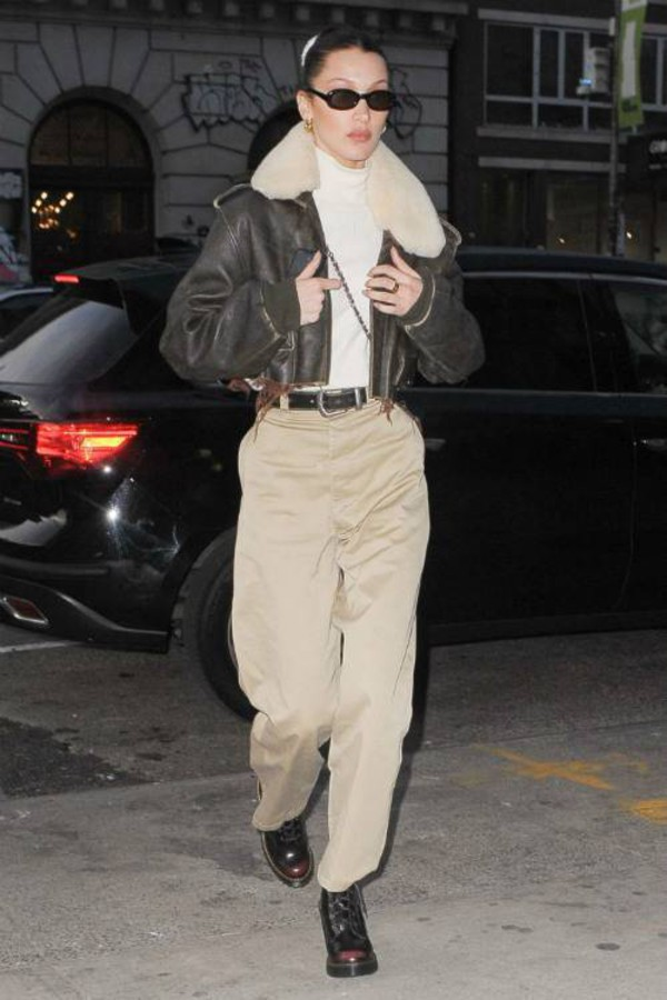 shoes pants jacket cropped jacket bella hadid model off-duty streetstyle fall outfits