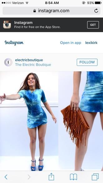 dress blue tie dye bodycon dress mini dress long sleeve dress skirt party dress
