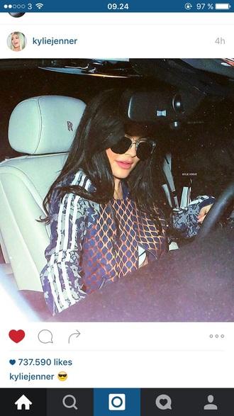 blouse adidas pattern kylie jenner kardashians jacket bomber jacket