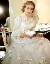 dress,maxi dress,gown,ball gown dress,white dress,floral dress,gloves,hairstyles,grace kelly,actress,retro dress,retro