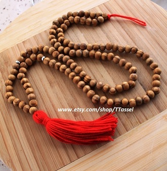 hair accessory mala  necklace wooden necklace tassel mala bohemian necklace red boho