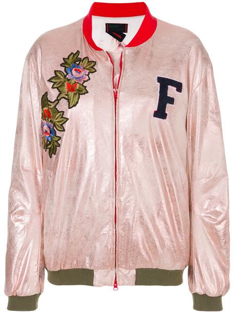 Femme By Michele Rossi jacket bomber jacket women spandex embellished purple pink