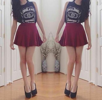 shirt jack daniels shirt t-shirt brand t-shirt jack daniel's skirt tank top shoes rock red mini skirt summer burgundy red black white girl girly grunge hipster indie leather skirt muscle tee blouse top