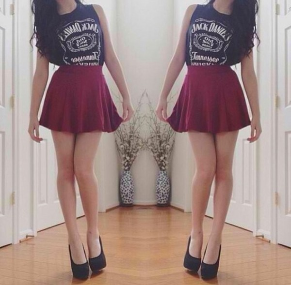shirt jack daniels shirt t-shirt brand t-shirt jack daniel's skirt tank top shoes rock red mini skirt red skirt summer jack daniel's burgundy red black white girl girly grunge hipster indie jack daniel's leather skirt muscle tee skater blouse top