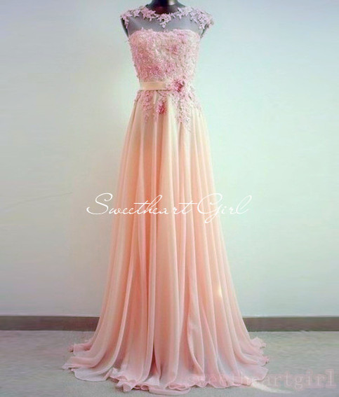 Sweetheart Girl | Sweetheart Lace Chiffon Floor-Length Prom Dres | Online Store Powered by Storenvy