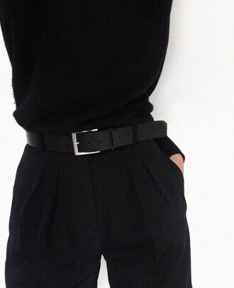 pants aesthetic alternative tumblr black belt high waisted minimalist mens suit womans suit grunge urban goth indie boho black pants vintage black shirt sweater korean fashion