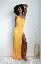 dress,pretty little fro,yellow dress,bodycon dress,maxi dress,slip dress,one shoulder dress,one shoulder,yellow,side split dress,high split dresses,sexy dreses,yellow prom dresses