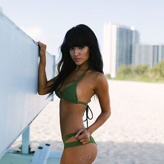 swimwear bikini green sexy summer beach hot tan