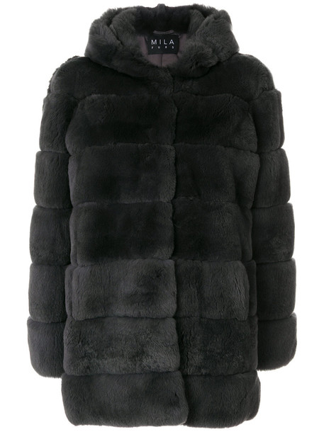 coat fur women grey