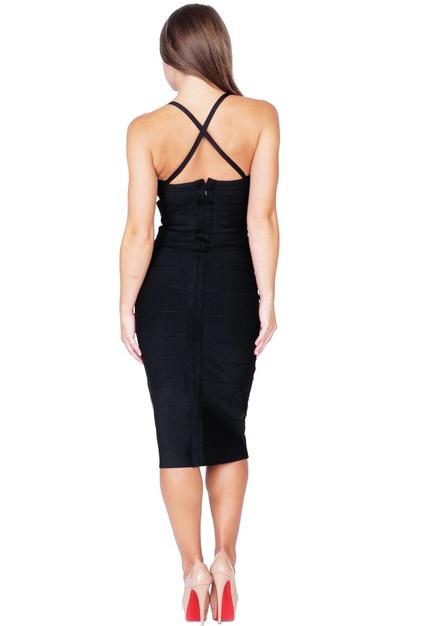 Plunge V Neck Midi Bandage Dress Black