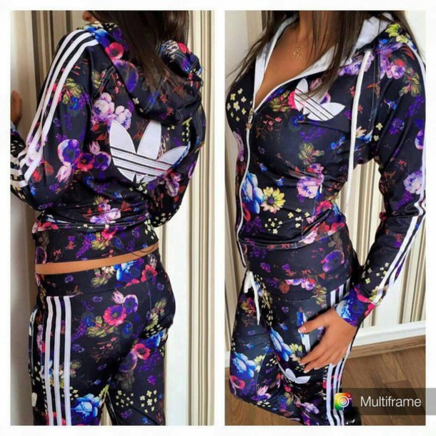 jumpsuit set sportswear adidas tracksuit flowers. Black Bedroom Furniture Sets. Home Design Ideas