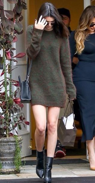 kendall jenner sweater dress bag knitted dress sweater