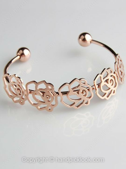 Gold Flower Hollow Modern Bangle Bracelet - HandpickLook.com